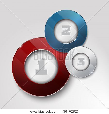elements for infographic. Template for diagram, graph, presentation. Business concept with 3 options, parts, steps or processes. design with a glass surface. shiny button with metallic elements