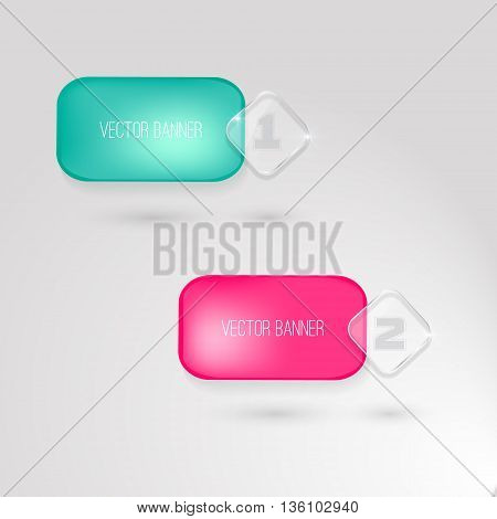 Vector banners set. 2 bright colors. glass elements. Vector banner with a glass surface for your business titles. blue and pink. with rounded corners