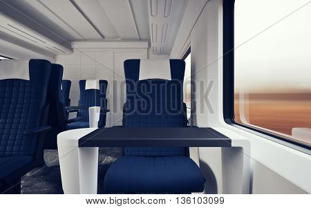 Interior Inside First Class Cabin Modern Speed Express Train.Nobody Blue Chairs Window.Comfortable Seats and Table Business Travel. 3D rendering.High Textured Row Materials. Motion Blurred Background