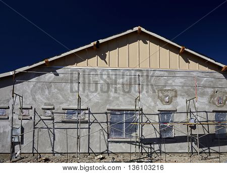 New Home Construction Stucco Plaster Scaffold System Masonry Contractor