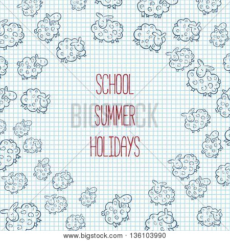Vector Illustration Sketch of Sheep. Cute Sheep background.  School theme. notebook. back to school. summer holidays