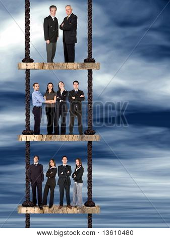 business corporate team on a ladder of success over an abstract sky