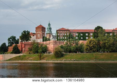 ancient monument old castle architecture of red brick on the river
