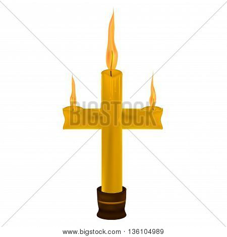 candle shape of a cross on a white background .