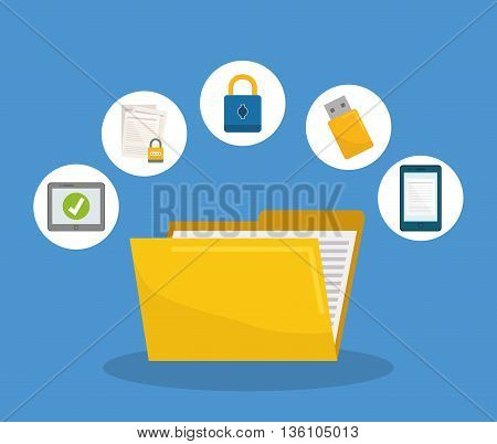Privacy and security system graphic icons design, vector illustration