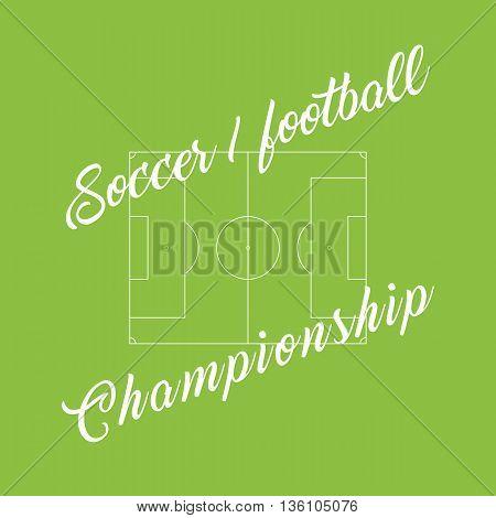 Championship soccer, football green background. Stadium line