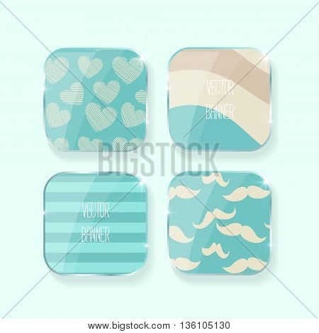 Vector banners set.. glass elements. blue color. Vector label . hearts, stripe, mustaches