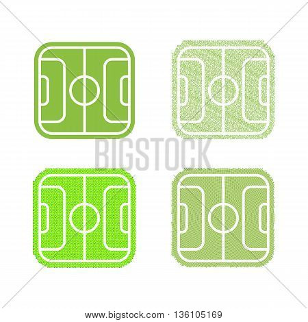 Isolated abstract football, soccer field vector logo set. Green color sport logotypes collection