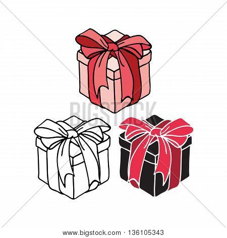 set of vector illustration of different style gift box with a bow of a ribbon