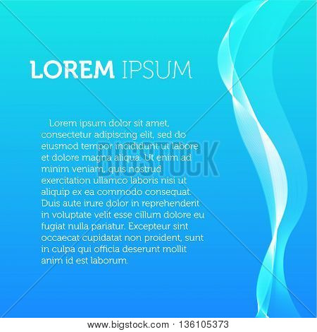 Blue color background. Transparent wavy element brochure. Flyer template. Smoke illustration. Designed catalogue page image. Simple flat leaflet