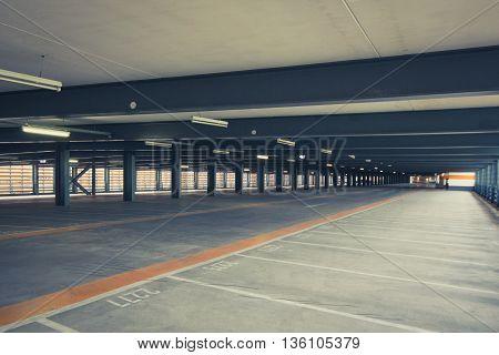 empty parking deck - park lot - parking space