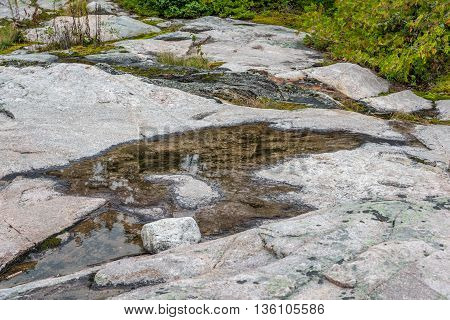 Stone bed of forest near Superior Lake Canada