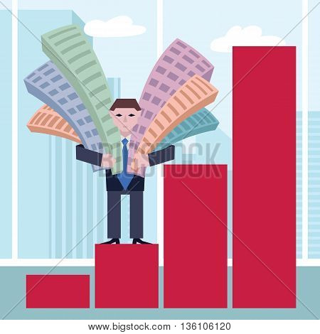 Businessman holding houses. Business concept the real estate market with chart. Vector illustration of businessman with houses standing on chart on a town background.