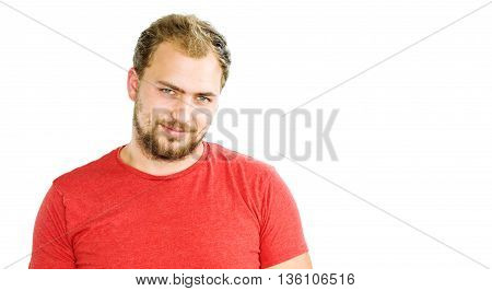 Portrait Of Handsome Bearded Young Man With Beaming Smile