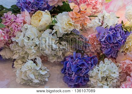 Beautiful bouquet of colorful flowers. Wedding decorations