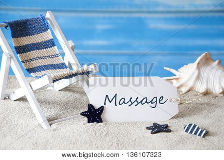 Summer Label With English Text Massage. Blue Wooden Background. Card With Holiday Greetings. Beach Vacation Symbolized By Sand, Deck Chair And Shell.