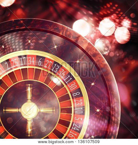3D Rendering of a sparkling roulette in a casino