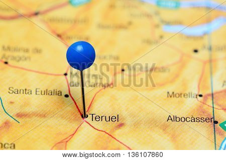 Teruel pinned on a map of Spain
