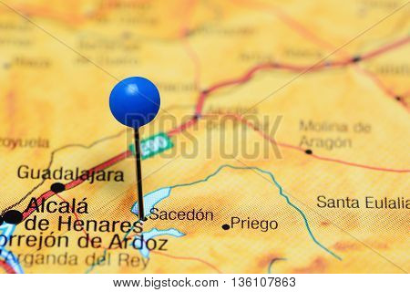 Sacedon pinned on a map of Spain
