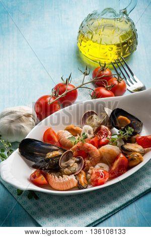 sea salad with fresh tomatoes