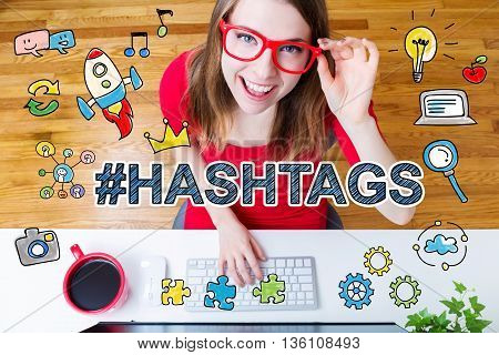 Hashtags Concept With Young Woman
