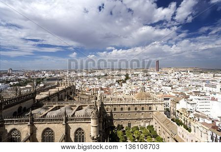 View of Seville the capital and largest city of the autonomous community of Andalusia Spain
