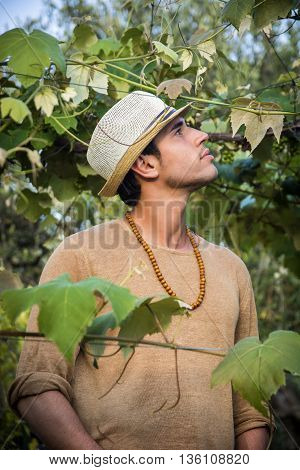 Side view of handsome young man in hat toching vine leaves in garden in sunlight