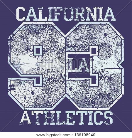 California T-shirt fashion Typography, sport emblem design, Number with floral ornament, graphic Print label