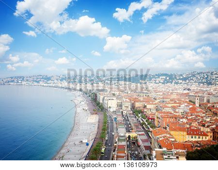 cityscape of Nice with beach and sea, cote dAzur, France, retro toned