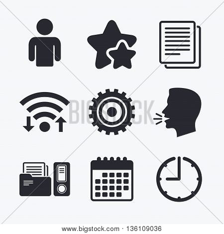 Accounting workflow icons. Human silhouette, cogwheel gear and documents folders signs symbols. Wifi internet, favorite stars, calendar and clock. Talking head. Vector