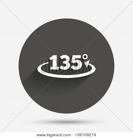 Angle 135 degrees sign icon. Geometry math symbol. Circle flat button with shadow. Vector