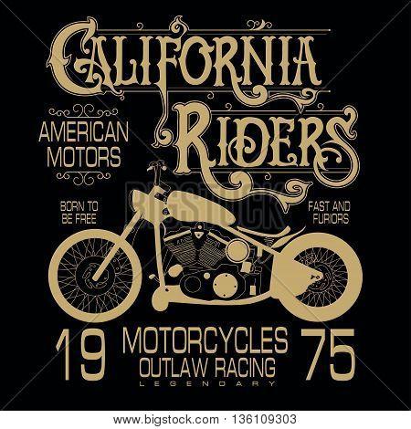 Motorcycle sport emblem, Biker fashion Typography, classic style print label.