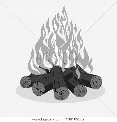 Bonfire camping firewood - burning woodpile - campfire isolated