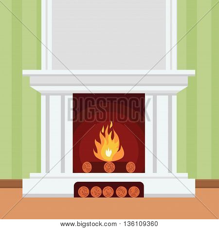 Fireplace in flat design style Christmas fireplace