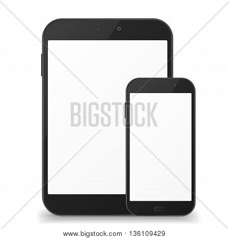 Black mobile phone and tablet with blank screen on white background. Realistic design
