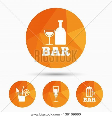Bar or Pub icons. Glass of beer and champagne signs. Alcohol drinks and cocktail symbols. Triangular low poly buttons with shadow. Vector