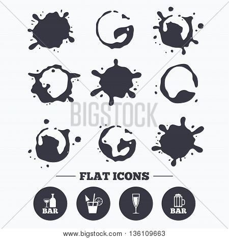 Paint, coffee or milk splash blots. Bar or Pub icons. Glass of beer and champagne signs. Alcohol drinks and cocktail symbols. Smudges splashes drops. Vector
