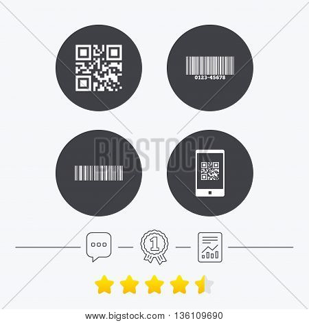 Bar and Qr code icons. Scan barcode in smartphone symbols. Chat, award medal and report linear icons. Star vote ranking. Vector