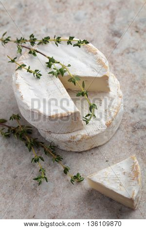 Camembert on a marble cutting board
