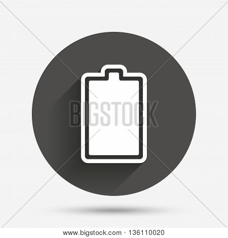Battery fully charged sign icon. Electricity symbol. Circle flat button with shadow. Vector