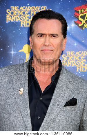 Bruce Campbell arrives at the 42nd Annual Saturn Awards on Wednesday, June 22, 2016 at the Castaway Restaurant in Burbank, CA.