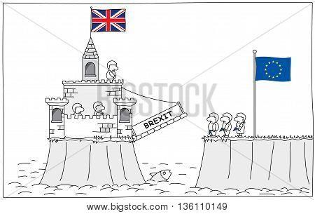 Brexit - Castle with United Kingdom flag raising the drawbridge. Vector image