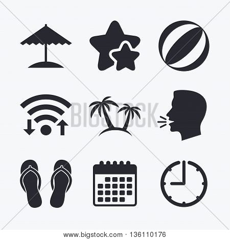 Beach holidays icons. Ball, umbrella and flip-flops sandals signs. Palm trees symbol. Wifi internet, favorite stars, calendar and clock. Talking head. Vector