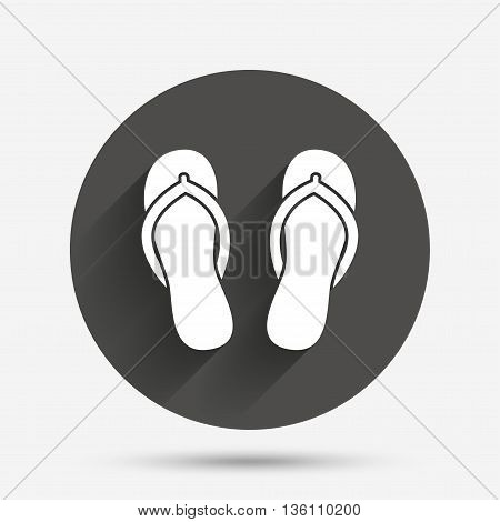 Flip-flops sign icon. Beach shoes. Sand sandals. Circle flat button with shadow. Vector