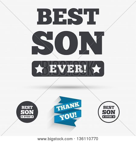 Best son ever sign icon. Award symbol. Exclamation mark. Flat icons. Buttons with icons. Thank you ribbon. Vector