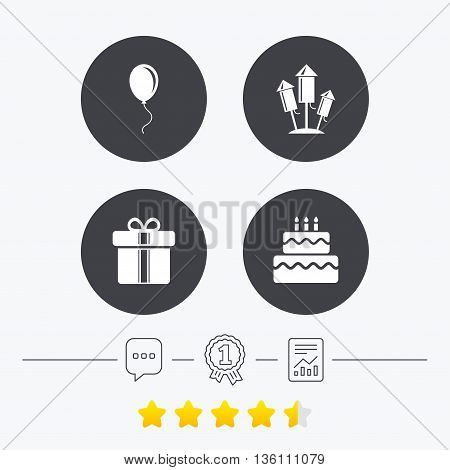 Birthday party icons. Cake and gift box signs. Air balloons and fireworks rockets symbol. Chat, award medal and report linear icons. Star vote ranking. Vector