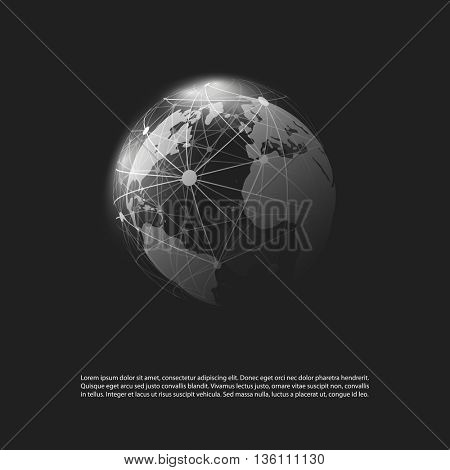 Cloud Computing and Networks Concept Design on a Black Background