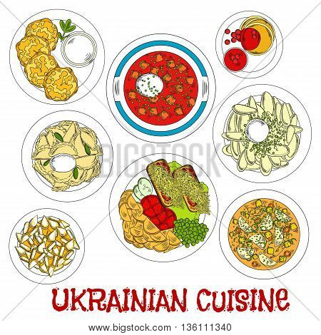 Meatless dishes of ukrainian cuisine for Lent sketch symbol with vegetarian borscht and soup, potato dumplings and pancakes with sour cream, fried potato with fresh vegetable salad and toasts, cottage cheese fritters and deep fried pastries