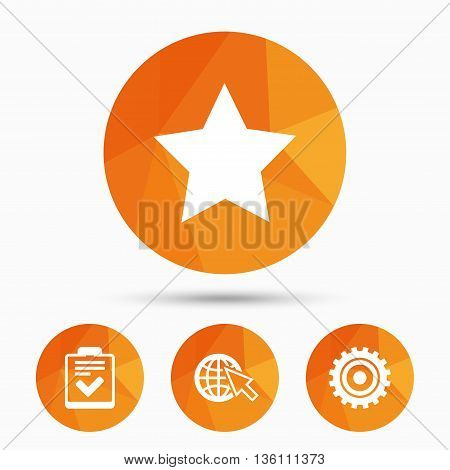 Star favorite and globe with mouse cursor icons. Checklist and cogwheel gear sign symbols. Triangular low poly buttons with shadow. Vector
