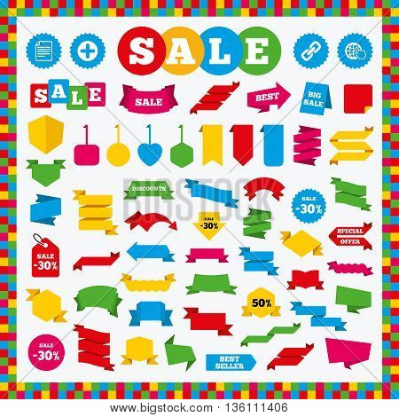 Banners, sale stickers and sale labels. Plus add circle and hyperlink chain icons. Document file and globe with hand pointer sign symbols. Sale price tags. Vector